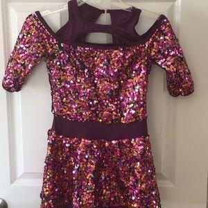 Girls extra large burgundy pink gold sequin Dress